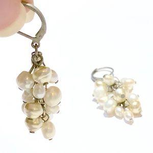 Pearl Cluster Drop Earrings, Multi-Shade